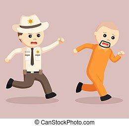 El oficial de policía perseguido escapó