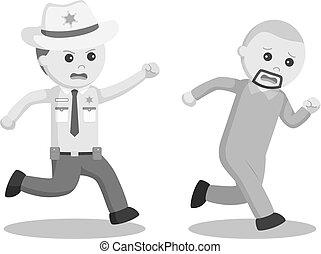 El oficial de policía persiguiéndolo escapó prisionero