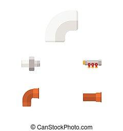 El oleoducto de icono plano, conector, oleoducto y otros objetos vectoriales. También incluye controlador, tuberías, elementos de tubería.