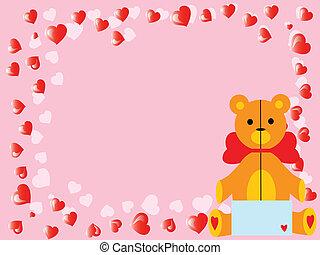 El oso de peluche del Vector Valentine en rosa