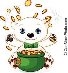 El oso polar hace malabares con monedas de oro