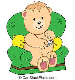 El oso se sentó en los dibujos animados