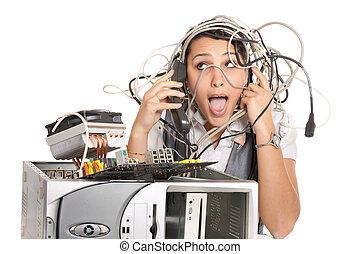 El pánico de la computadora femenina