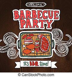 El póster de la fiesta de la parrilla BBQ