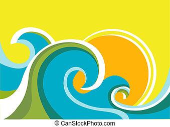 El póster de la naturaleza con olas de mar y sol. Color del vector