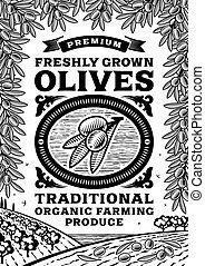 El póster de olivas retro en blanco y negro