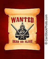 El póster de Vector quería un caballero medieval muerto o vivo