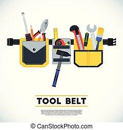 El póster del cinturón de herramientas. Imagen conceptual de herramientas para reparar