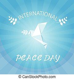 El póster del día de la paz mundial de las palomas blancas origamini