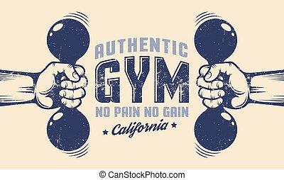 El póster del gimnasio, las manos con pesas