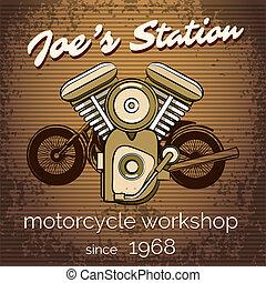 El póster del taller de motos Vector
