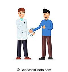 El paciente le da la mano al doctor