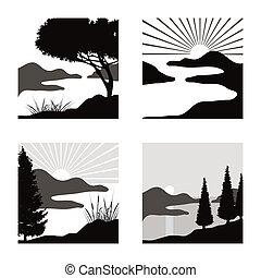 El paisaje costero estilizado ilustra el uso como pictogramas