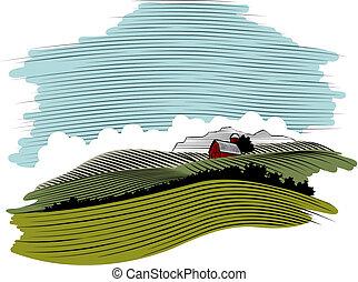 El paisaje de la granja Woodcut