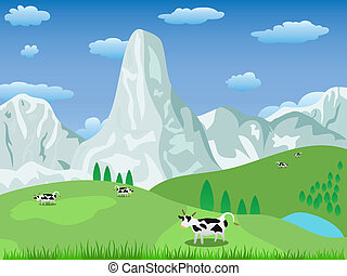El paisaje de montaña y el pasto