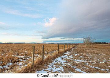 El paisaje de Praire cerca en invierno