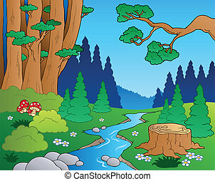 El paisaje forestal Cartoon 1