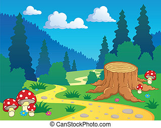 El paisaje forestal Cartoon 7