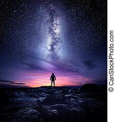 El paisaje nocturno de la Vía Láctea