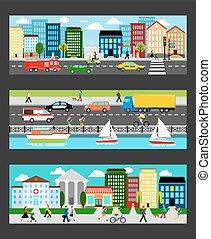 El paisaje urbano moderno establecido en los estandartes industriales de Megapolis ilumina el vector de ilustración