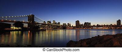 El panorama del puente de Brooklyn