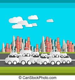 El papel corta autos y nubes. Ilustración de diseño plano Vector. Tiempo ocupado en la carretera. Ciudad de fondo.
