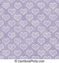 El patrón de los corazones de lunares púrpura y blanco repite el pasado