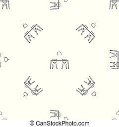 El patrón de mesa y sillas es un vector sin costura