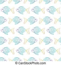 El patrón de peces arcoíris en un fondo blanco.