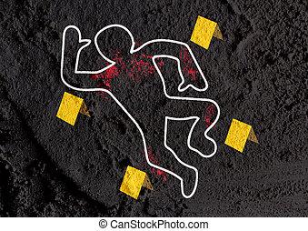 El peligro de la escena del crimen muestra ilustraciones en el fondo de textura de la pared