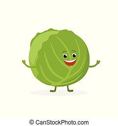 El personaje de caricaturas de repollo aislado en el fondo blanco. Alimentos saludables mascota curiosa ilustración vectorial vectorial en diseño plano.