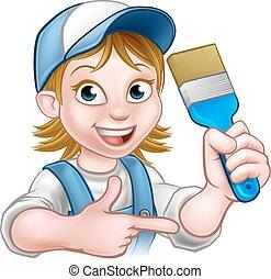 El personaje de dibujos animados de la decoradora de pintores