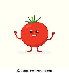 El personaje de dibujos animados de tomates aislado en el fondo blanco. Alimentos saludables mascota curiosa ilustración vectorial vectorial en diseño plano.