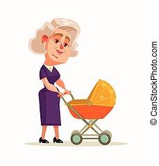 El personaje de la abuela caminando con el recién nacido. Ilustración plana de dibujos animados