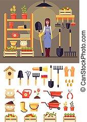 El personaje de la alegre mujer jardinera de pie en el granero con herramientas de jardinería. El concepto de la agricultura. Diseño gráfico de diseño gráfico Vector plana ilustración aislada