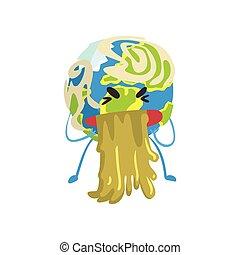 El personaje de la caricatura de la Tierra de los dibujos animados, el gracioso vector de emoji vector de la ilustración