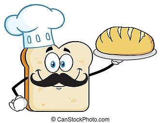 El personaje de la mascota de la rebanada de pan de chef presentando pan perfecto