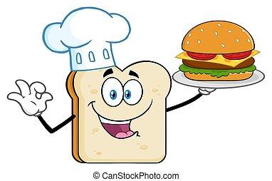 El personaje de la mascota de la rebanada de pan de chef presentando una hamburguesa perfecta