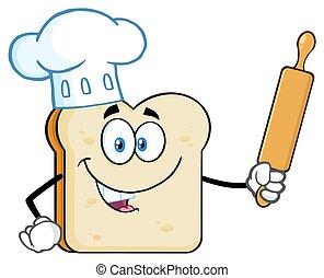 El personaje de la mascota de las caricaturas de panadero con sombrero de chef sosteniendo un rodillo