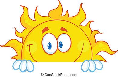 El personaje de la mascota del sol sonriente