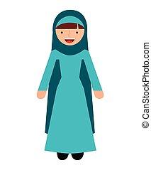 El personaje de la mujer del Islam aisló icono