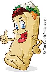 El personaje de los dibujos animados de Burritos levanta el dedo