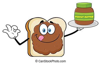 El personaje de mascota de caricatura con mantequilla de maní sosteniendo un frasco de mantequilla de maní