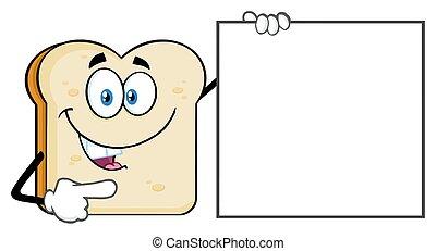 El personaje de mascota de caricatura de rebanada de pan que apunta a una señal en blanco