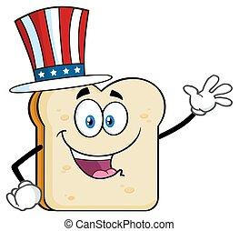 El personaje de mascota de dibujos animados de rebanadas de pan americano saludando