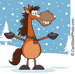 El personaje de mascota de los dibujos de caballos