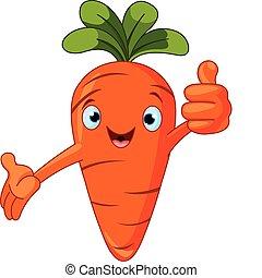 El personaje de tomate da pulgares hacia arriba