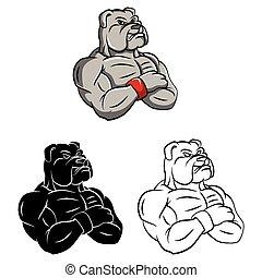 El personaje del bulldog de color