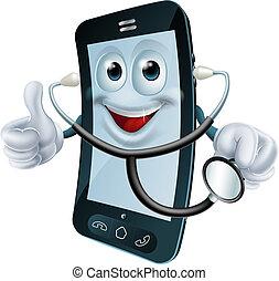 El personaje del teléfono cartoon sostiene un estetoscopio