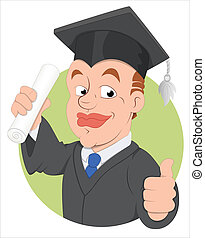 El personaje del vector de la graduación